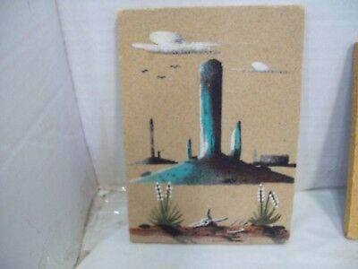 "Artist Signed Navajo Sand Art Painting Monument Valley, 7"" x 5"" Wilson Spice S3"