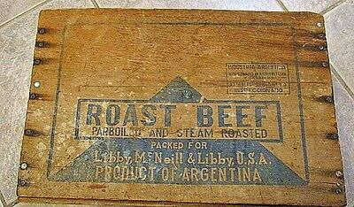 VINTAGE,  LIBBY McNEIL ADVERTISING WOOD ARGENTINA ROAST BEEF BOX, no top on box