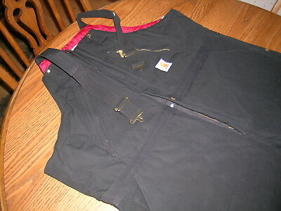 CARHARTT QUILT LINED INSULATED BIB OVERALLS BLACK , SZ 46 x 30, NWT R38