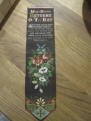 1890s Welch and Lenton silk bookmark book mark stevengraph style Happy Birthday