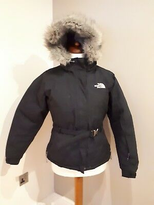 The North Face Womens Ski Snowboard Goose Down Jacket faux fur Size Medium UK 12
