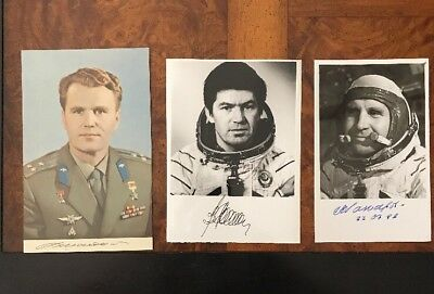 3 Russian Cosmonaut Authentic Signed Photographs
