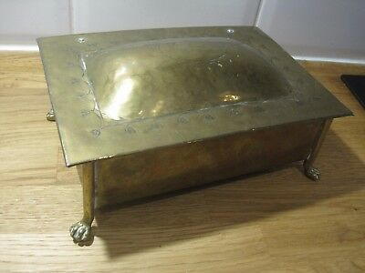German or Dutch 1820s Georgian solid brass cigarette hinged tea box boat scene