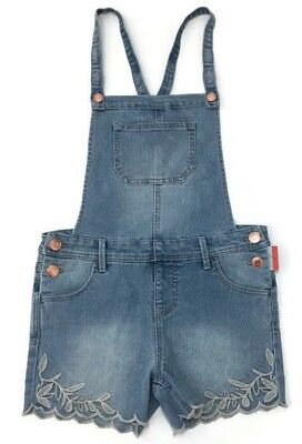 Cat and Jack Short Denim Overalls Shortalls Girls Large Embroidered Stretch New