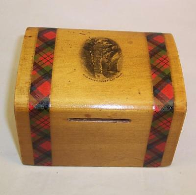 Vintage/Antique MAUCHLINE WARE Tartan MONEY BOX High Rocks TUNBRIDGE WELLS