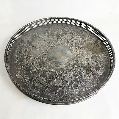 Antique Viners Vintage Round Silver Plate Drinks Chased Servants Serving Tray