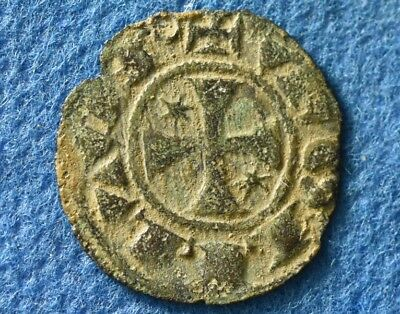 Crusaders times Nice Medieval Christian coin with CROSS, circa 12 Century AD.