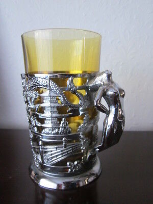 ART DECO CHROME GLASS HOLDER ~ NUDE LADY HANDLE ~ re-placement amber glass
