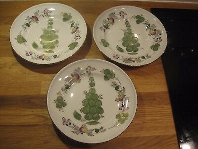 3x 1930s-50s Russian Dulevo porcelain Moscow Russia floral dinner plates