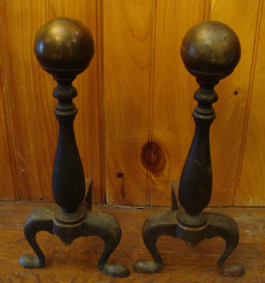 "Pair Antique Vintage Classic Brass & Iron Cannonball Andirons 16"" Tall"
