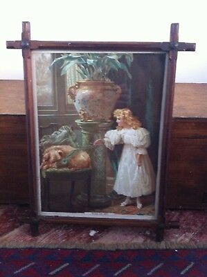 LOVELY ANTIQUE PRINT in NICE DECORATIVE PINE & BRASS FRAME 20 by 16 inches