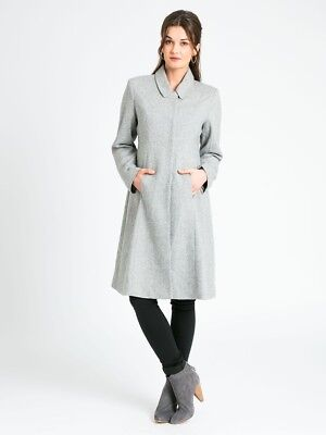 New JoJo Maman Bebe Maternity Princess Line Gray Tweed Coat Sz S US 2/4 (UK 6/8)