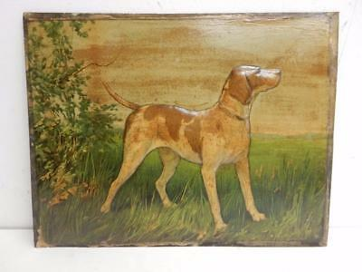 old picture print french embossed picture HUNTING DOG