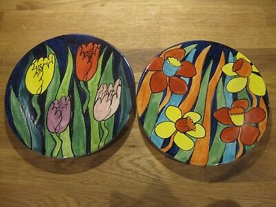 Pair handpainted Honiton Devon pottery plates - Jane Willingale daffodils tulips