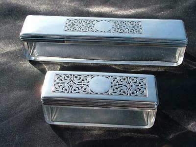 2 x GEORGE IV HM 1834 - 35  HEAVY STERLING SILVER MOUNT TOILET BOXES 109g
