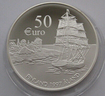 FINLAND 50 EURO 1997 ALAND 75 Years SILVER PROOF COIN