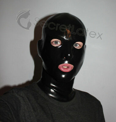 Latex Black Rubber Skin Gummi Hood Long Neck Gimp Fetish Anatomical Male Mask