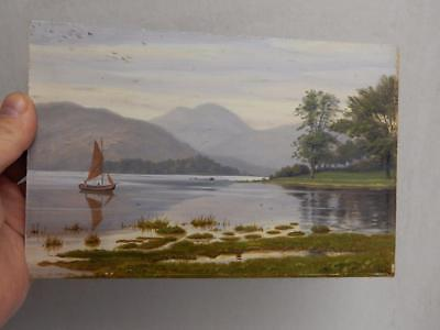 REALLY old PAINTING oil lake landscape signed