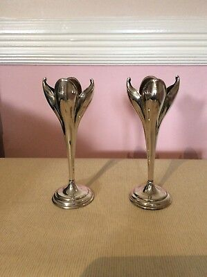 Pair Of Plato Silver Plated/EPNS Tulip Vases