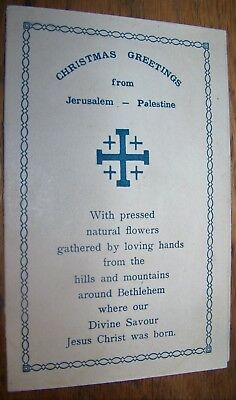 c1940 VINTAGE CHRISTMAS GREETING CARD PALESTINE FLOWERS FROM BETHLEHEM HOLY LAND