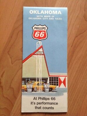 Vintage 1969 PHILLIPS 66 Oklahoma Gas Station Road Map