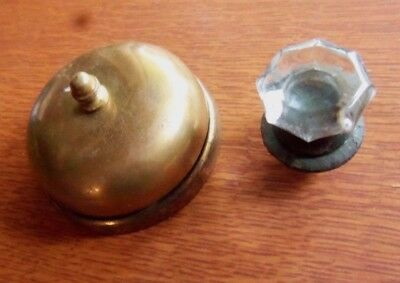 Antique Brass Mechanical Doorbell & Glass Pull c.1875 by Sargent