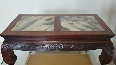 19 C.Old Antique Chinese Hand Carved Wood FootStool Display StandInlaid Marble