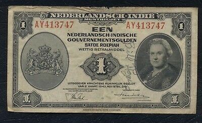 Netherlands Dutch East Indies Indonesia fl1 gulden 1943 P.111a Antique Money