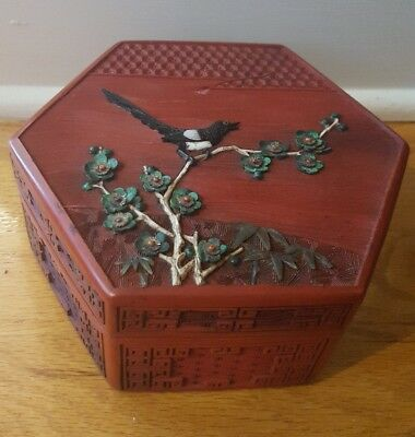Old Antique Chinese Hand Carved Cinnabar Box with Stone & Shell Bird