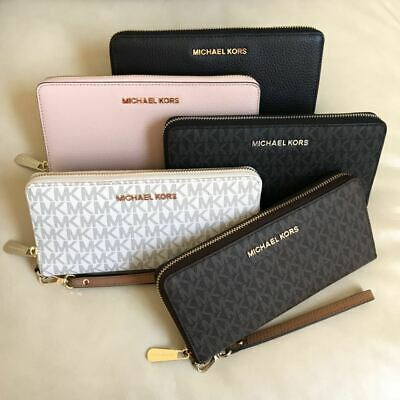 NWT Michael Kors Travel Continental Leather PVC Wallet Various Color