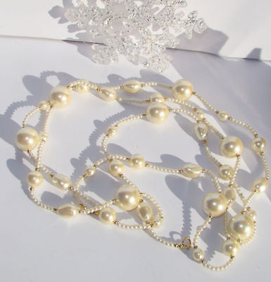 Vintage Pretty  Faux Pearl & Goldtone  Beads  Long Necklace