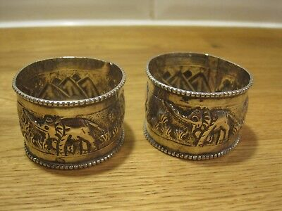 Great Pair of sterling solid silver Repousse Elephant serviette napkin rings 23g