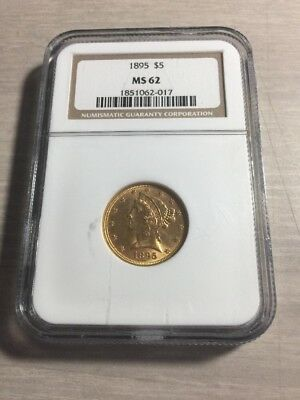 1895 $5 Gold NGC MS62