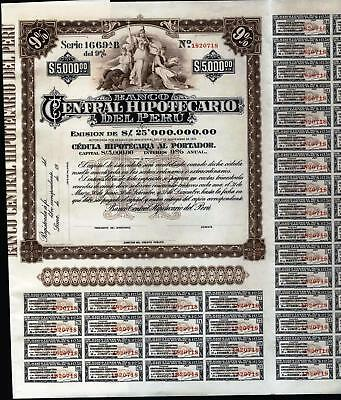$5000 Banco Central Hipotecario Del Peru Bond, 1975 Unissued With 80 Coupons