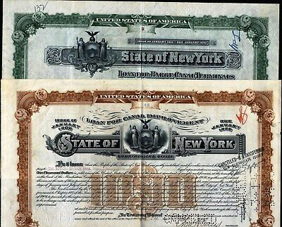 2  Diff $1000 State Of New York Bonds: Green, 1912 + Brown, 1909 Comptroller's