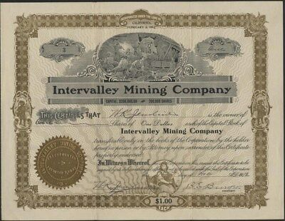 Intervalley Mining Co, 1912, California Mining Company Stock Certificate