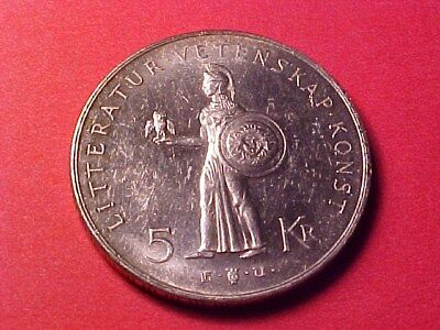 Sweden 5 Kronor Silver 1962 Au 80Th Birthday Gustaf Vi Pallas Athena