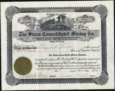 Sioux Consolidated Mining Co, Of Utah, 1909, Uncancelled Stock Certificate