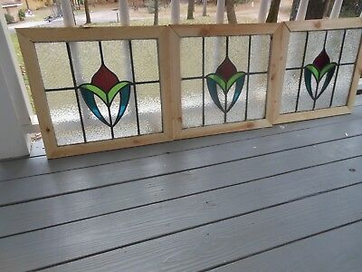 MA12-312 Lovely Older Leaded Stain Glass Window F/England Reframed 6 Available