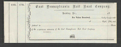 18xx EAST PENNSYLVANIA RAIL ROAD CO READING PA RECEIPT for STOCK SHARES