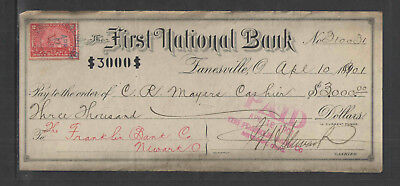 1901 The First National Bank Zanesville Ohio Antique Bank Check