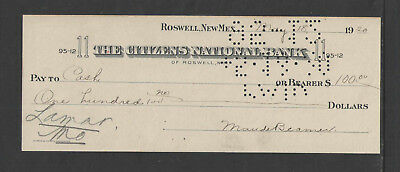 "1920 THE CITIZENS NATIONAL BANK ROSWELL New Mex NM 3"" X 8"" ANTIQUE BANK CHECK"