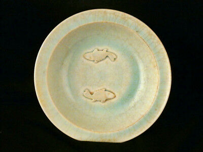 """7.1"""" Nice Chinese Song Dy White Porcelain *2Carps Relief* Plate F011"""