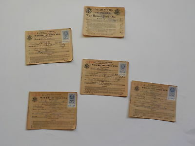 5 WWII Ration Books No Stamps Home Front Papers WW2 Lot VTG World War Two Old NR