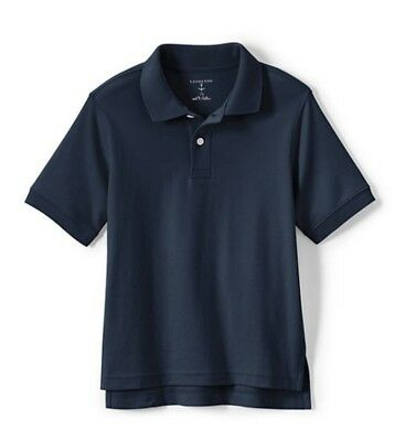LANDS END Kid's Size XL (18/20) Navy SS Cotton Knit Uniform Polo Top NEW