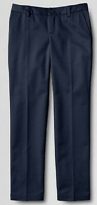 LANDS END Navy School Uniform *Iron Knees* Pants Girls 12 Plus NEW MSRP $33!