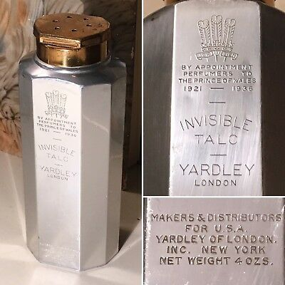 Antique YARDLEY London Prince of Wales INVISIBLE TALC TIN c1921-36 England