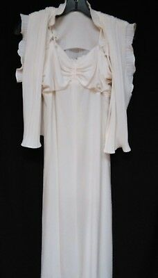 Vintage Ivory Maxi Dress & Pleated Top Set Size S Stretch Fabric Adj. Straps