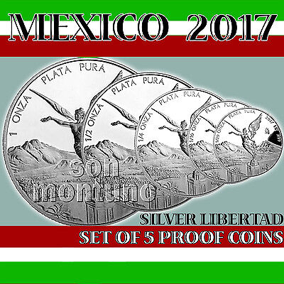 2017 MEXICO - SET OF 5 SILVER LIBERTAD PROOF COINS in Original Mint Capsules
