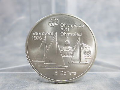76 Montreal Olympics XXI Geographic Series I #4 KINGSTON SAIL Silver $5 UNC Coin